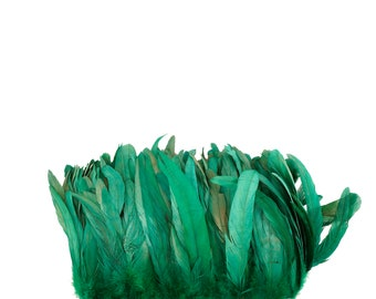 "KELLY 8-10"" Bulk Bleach-Dyed Rooster Coque Tail Feathers Strung by the 1/4lb For Cultural Arts, Carnival & Costume Design ZUCKER®"