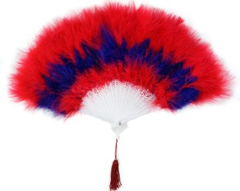 Red and Regal Marabou Feather Fans - Perfect for Photobooths, Great Gatsby, Roaring 20s Theme Costume Parties, Halloween & Red Hat ZUCKER®