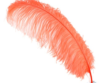 "HOT ORANGE 25 Large Ostrich Feathers 17-25"" 25pc/pkg - For Feather Centerpieces, Party Decor, Millinery , Carnival , Costume ZUCKER®"