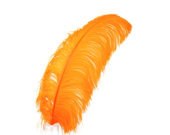 "ORANGE 25 Large Ostrich Feathers 17-25"" 25pc/pkg - For Feather Centerpieces, Party Decor, Millinery , Carnival , Costume ZUCKER®"