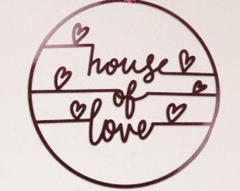 """Red Glitter Acrylic """"House of Love"""" Decorative Wall Art, Wall Quote, Wall Statement, Valentines Day Wall Decor for Home and Office ZUCKER®"""