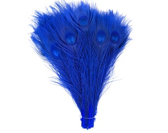 "ROYAL 100pcs Bulk 8-15"" Bleach Dyed Peacock Tail Feathers - For Arts & Crafts, Floral Decor, Millinery and Jewelry Design ZUCKER®"
