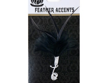Small Decorative Black Feather Flower Accent for Millinery, Boutonniere and Corsage, Jewelry Design, Decor, Arts and Craft Supply ZUCKER®