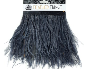 CHARCOAL 1 YARD Ostrich Feather Fringe - For Bridal, Carnival Costume, Cosplay, Millinery, Fashion Design and Decor  ZUCKER®