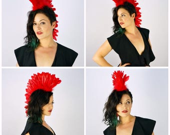 Red Feather Mohawk Headdress - Festival, Burning Man, Coachella, Halloween, Carnival, Rave Wear ZUCKER® Feather Place Original Designs