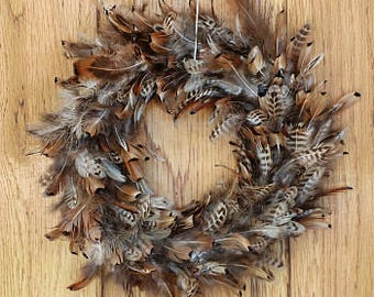 "Decorative Pheasant Feather Wreath 15"" - Fall Decor, Rustic Wedding Decor, Thanksgiving Decor WRPH15--N ZUCKER™"