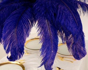 "Large Ostrich Feathers 25 Pieces 17-25"" Prime Ostrich Femina Wing Plumes REGAL Purple, Wedding Centerpiece, Carnival Feathers ZUCKER® USA"