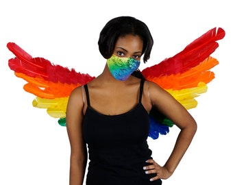 Rainbow Feather Wings and Sequin Mask, Halloween Wings and Mask Set, Carnival Costume Festival Wings, Costume Parties ZUCKER®