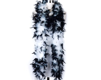 60 Gram Chandelle Feather Boa Tipped WHITE & BLACK 2 Yards For Party Favors, Kids Craft, Dress Up, Dancing, Halloween, Costume ZUCKER®