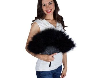 Black Feather Fan, Small Marabou Feather Fan, Cheap Feather Fan For Photobooths, Costume Parties, Carnival & Halloween ZUCKER®