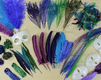 PEACOCK Crafter Assortment Kit - For Arts, Craft, DIY, Costume, Millinery, Cosplay and Fashion Design ZUCKER®