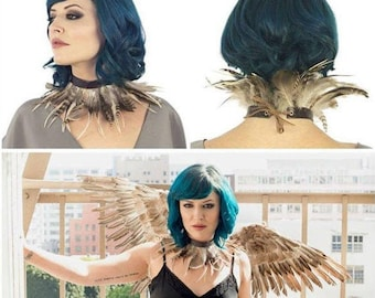 Night Owl Costume Set with Wings & Feather Choker - Unique Feather Costume for Cosplay, Halloween -  ZUCKER® Feather Place Original Designs