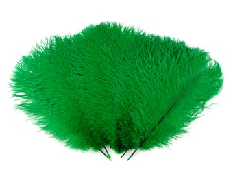 """Ostrich Feathers 13-16"""" KELLY Green - For Feather Centerpieces, Party Decor, Millinery, Carnival, Fashion & Costume ZUCKER®"""