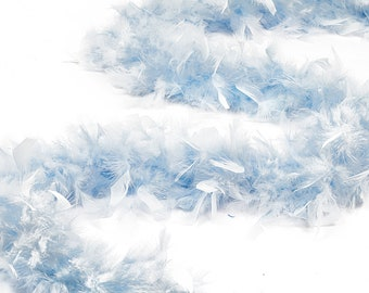 60 Gram Chandelle Feather Boa, Light Blue 2 Yards For Party Favors, Kids Crafting & Dress Up, Dancing, Wedding, Halloween, Costume ZUCKER®