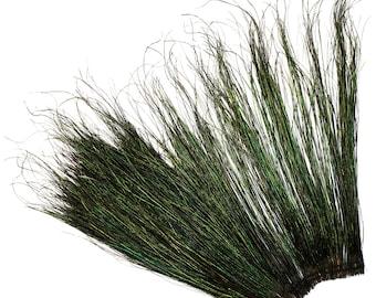 "Peacock Flue, 14-16"" NATURAL Iridescent Green Peacock Flue, Super Long Peacock Herl Feathers ZUCKER®"