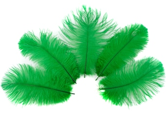 "Ostrich Feathers 4-8"" KELLY Green, Mini Ostrich Drabs, Floral Bouquets, Boutonnieres, Small Centerpieces, Hats ZUCKER®"