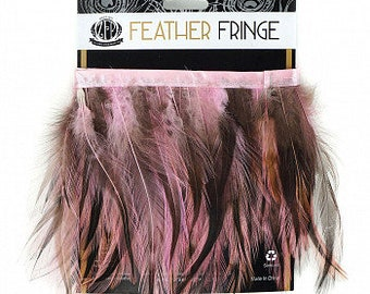 PINK 1YD Dyed Badger Hackle Feather Fringe - DIY Art Crafts, Carnival, Cosplay, Costume, Millinery and Fashion Design ZUCKER®