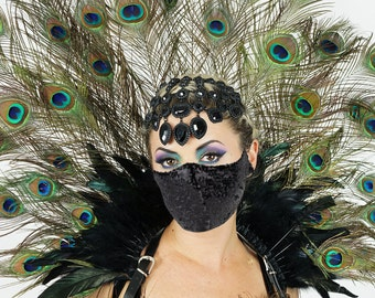 Natural Peacock Collar with Black Sequin Mask, 3 in 1 Collar, Headdress, Bustle and Mask For Halloween, Masquerade & Costume Parties ZUCKER®