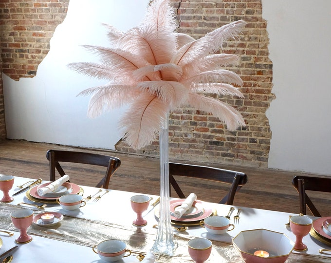 Featured listing image: CHAMPAGNE Ostrich Feather Centerpiece Sets CLEAR Eiffel Tower Vase - For Great Gatsby Party, Special Event & Wedding Reception Decor ZUCKER®