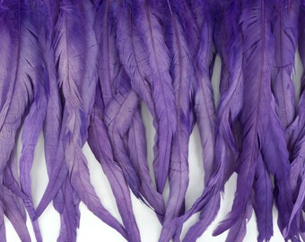 "12-14"" LAVENDER Dyed Coque Feather Fringe 1YD - For DIY Art Crafts, Carnival Costume, Cosplay, Millinery & Fashion Design Fringe ZUCKER®"