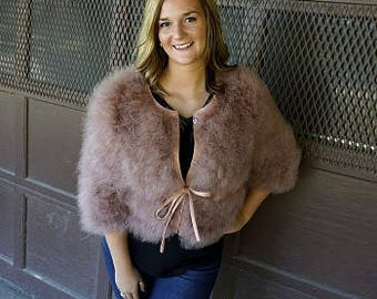 Marabou Feather Jacket w/cinch Belt - G81 (SM-MED)  ZUCKER® Feather Place Original Designs