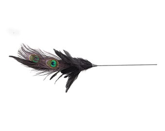 Peacock Pheasant Feather Floral Stem - Black