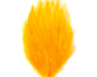 GOLD 12 Dyed Hackle Pads - For Feather Crafts, Fascinators, Millinery, Fashion, Costume and Carnival Design ZUCKER®
