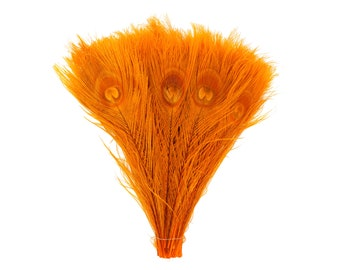 "ORANGE 100pcs Bulk 8-15"" Bleach Dyed Peacock Tail Feathers - For Arts & Crafts, Floral Decor, Millinery and Jewelry Design ZUCKER®"