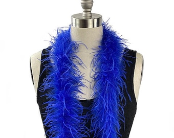 Ostrich Feather Boa, Royal Blue 2 Ply Value Ostrich Boa Halloween Costume, Dance and Fashion Design ZUCKER® Dyed & Sanitized in the USA
