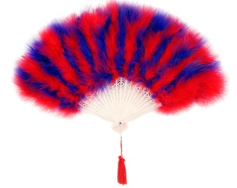 Red and Purple Feather Fans, Small Marabou Feather Fan, Cheap Feather Fan For Photobooths, Costume Parties, Carnival & Halloween ZUCKER®