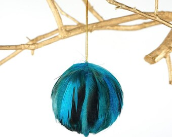 Decorative Turquoise Feather Ornament - Natural Dyed Duck - Fall Thanksgiving Decor, Unique Holiday Decorative feather ornament ZUCKER®
