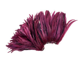 """PURPLE 12-14"""" Bulk Bleach-Dyed Rooster Coque Tail Feathers Strung by the 1/4lb For Cultural Arts, Carnival & Costume Design ZUCKER®"""