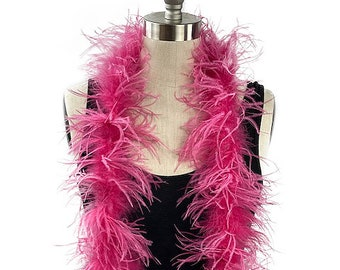 Ostrich Feather Boa, Raspberry 2 Ply Value Ostrich Boa Halloween Costume, Dance and Fashion Design ZUCKER® Dyed & Sanitized in the USA