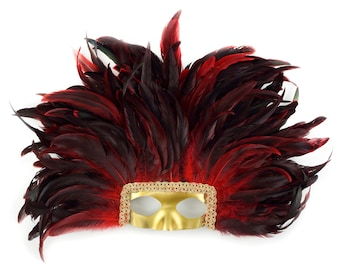 RED Feather Headdress with Gold Removable Masquerade Mask -  Cultural Dance, Carnival and Halloween Costume Feather Headdress ZUCKER®