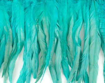 "12-14"" SEAFOAM Dyed Coque Feather Fringe 1YD - For DIY Art Crafts, Carnival Costume, Cosplay, Millinery & Fashion Design Fringe ZUCKER®"