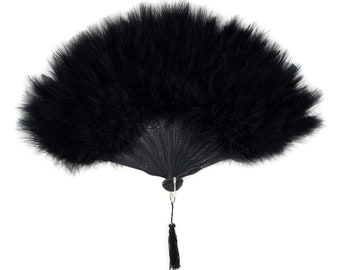 BLACK Marabou Feather Fans - Photobooth Accessories, Perfect for Great Gatsby, Roaring 20's Theme Costume Parties & Halloween Events ZUCKER®