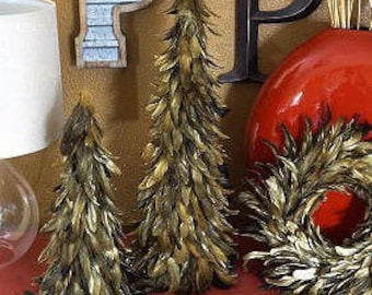 "GOLD 24"" Gilded Metallic Feather Trees - Fall Decorative Event &  Holiday Christmas Trees ZUCKER®"