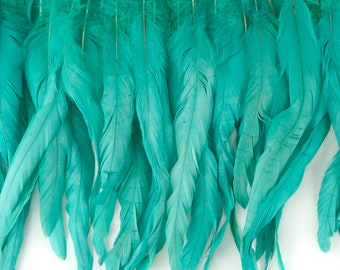 """12-14"""" AQUAMARINE Dyed Coque Feather Fringe 1YD - For DIY Art Crafts, Carnival Costume, Cosplay, Millinery & Fashion Design Fringe ZUCKER™"""