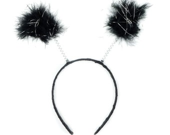 Black with Silver Tinsel Marabou Feather Antenna Headbands - For Halloween and Costume Parties