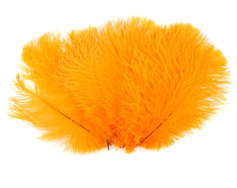 """Ostrich Feathers 9-12"""" MANGO Orange, Ostrich Drabs, Centerpiece Floral Supplies, Carnival & Costume Feathers ZUCKER®Dyed and Sanitized USA"""