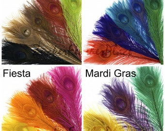 "BULK 8-15"" Bleach Dyed Peacock Tail Feather MIX - 100 pc/pkg Mixed Bleach Dyed Short Peacock Eye Tail Feathers ZUCKER®"