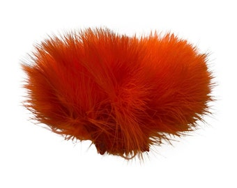 HOT ORANGE Strung Marabou Turkey Feathers - For Fly Fishing, Fly Tying, D.I.Y Arts and Crafts ZUCKER®