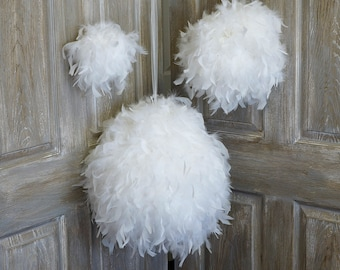 "Large WHITE Decorative Chandelle Feather Pom Poms 18"" - Unique Event Decor For Birthday Parties, Bridal and Baby Showers  ZUCKER®"