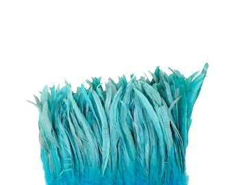 "LIGHT TURQUOISE 8-10"" Bulk Bleach-Dyed Rooster Coque Tail Feathers Strung by the 1/4lb For Cultural Arts, Carnival & Costume Design ZUCKER®"
