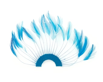 TURQUOISE Hackle Feather Trim - Hackle Plate Feather Trim with Beads for DIY Arts and Crafts, Millinery & Costume Design ZUCKER®