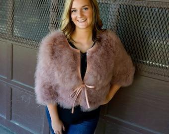 PRALINE Marabou Feather Jacket w/cinch Belt Small/Medium - For Fashion Trends & Special Events ZUCKER® Original Designs
