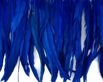 "12-14"" ROYAL Dyed Coque Feather Fringe 1YD - For DIY Art Crafts, Carnival Costume, Cosplay, Millinery & Fashion Design Fringe ZUCKER®"