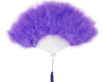 Lavender Feather Fan, Small Marabou Feather Fan, Cheap Feather Fan For Photobooths, Costume Parties, Carnival & Halloween ZUCKER®