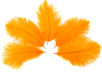 "Ostrich Feathers 4-8"" MANGO Orange, Mini Ostrich Drabs, Floral Bouquets, Boutonnieres, Small Centerpieces ZUCKER® Dyed and Sanitized USA"