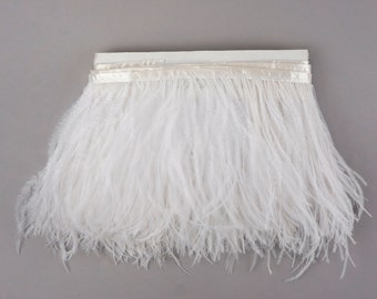 WHITE Bulk 5 YARD Ostrich Feather Fringe - For Bridal, Carnival Costume, Cosplay, Millinery, Fashion Design and Decor  ZUCKER®